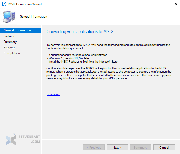 Convert an application to MSIX from the SCCM console - stevenbart com