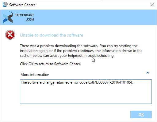 Erreur 0x87D00607 lors d'installation d'application