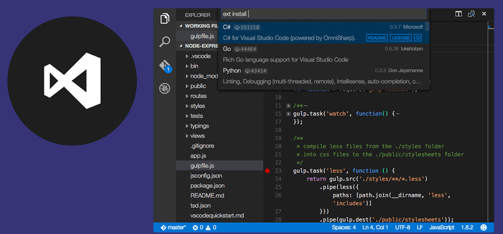 An image of Visual Studio Code, an alternative to Visual Studio 2019.
